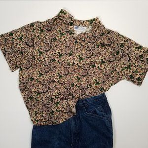 Vintage 80's Tiny Floral Brown Popover Blouse 1X